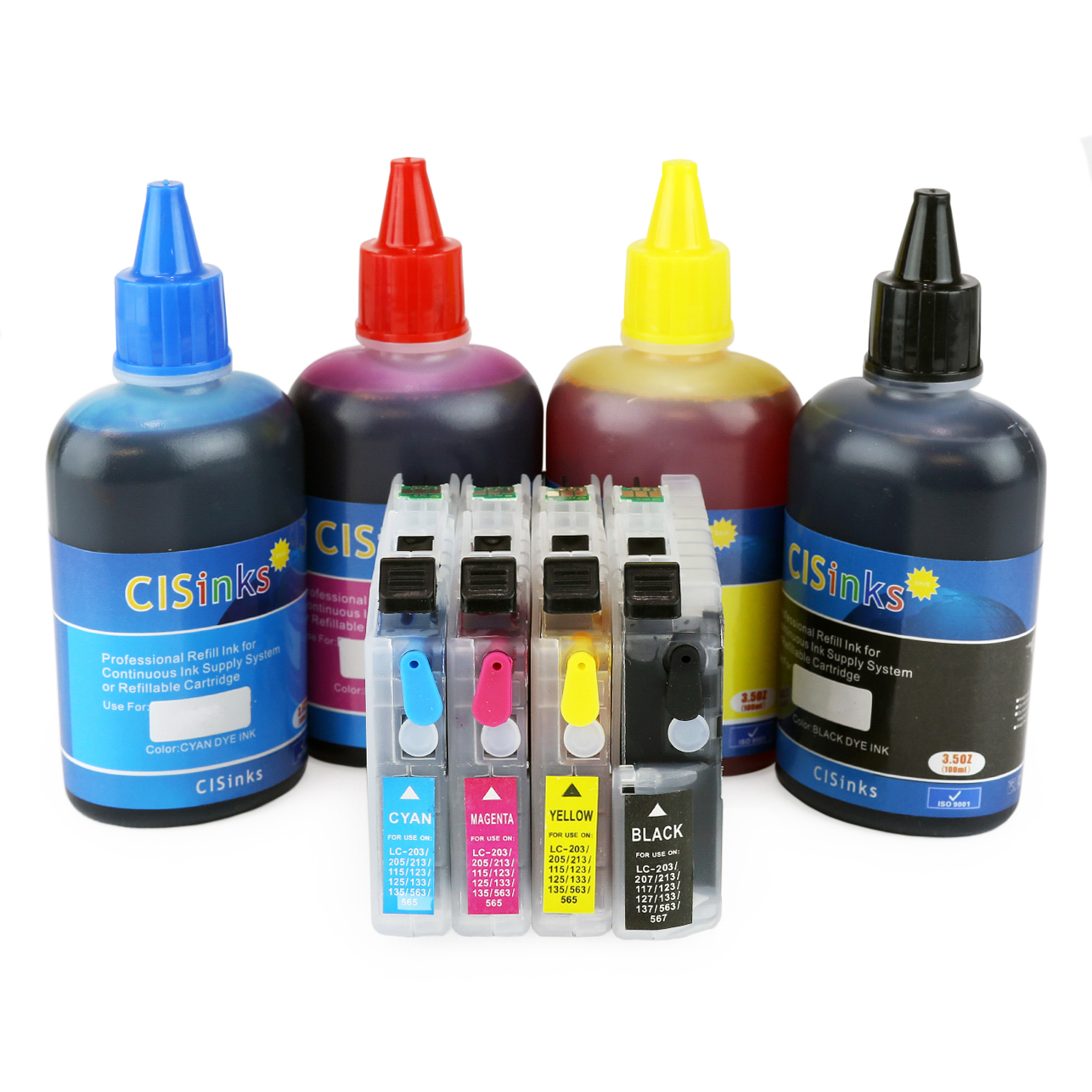 [Refillable Ink Cartridge KIT] for Brother LC203 MFC-J4320DW MFC-J4420DW MFC-J4620DW MFC-J5520DW MFC-J5620DW MFC-J5720DW MFC-J460DW MFC-J480DW MFC-J485DW MFC-J680DW MFC-J880DW MFC-J885DW MFC-J4625DW MFC-J5320DW HL-2275DW