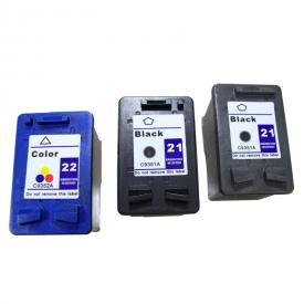 3 Pack HP21&HP22 ( HP 21/22 ) Remanufactured Cartridge,Works with ALL HP printers that use 21/22 ink cartridge
