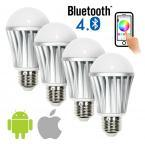 Bluetooth Smart LED Light Bulb(4 pack) - Andriod & iPhone iPad (iOS) Phone and Tablet App Controlled Multi-colored Color Changing Light (RGB + Warm & Cool)