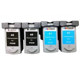 4 Pack CANON PG40XL&CL41 Remanufactured Cartridge,Works with ALL CANON printers that use PG40XL&CL41 ink cartridge