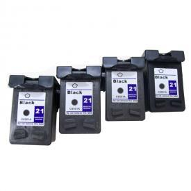 4 Pack HP21 ( HP 21 ) Remanufactured Cartridge,Works with ALL HP printers that use 21 ink cartridge