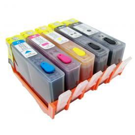 [Refillable Ink Cartridge Set] For HP 564 XL Photosmart C309a C309g C410a C310a C510a C309n D5445 D5460 C6340 C6380 C6350 7520 7515 7510 7525 D7560 B8550 C6383 C6388 C6480 HP564 HP564XL 5 Color