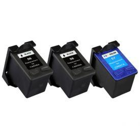 3 Pack HP56&HP57 ( HP 56/57 ) Remanufactured Cartridge,Works with ALL HP printers that use 56/57 ink cartridge