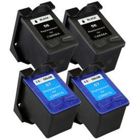 4 Pack HP56&HP57 ( HP 56/57 ) Remanufactured Cartridge,Works with ALL HP printers that use 56/57 ink cartridge