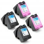 4 Pack (2x Black + 2x Tri-Color) HP 62XL High Yield Remanufactured Ink Cartridge for Hewlet Packard Officejet and ENVY Printers HP62