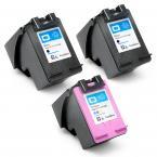 3 Pack (2x Black + Tri-Color) HP 62XL High Yield Remanufactured Ink Cartridge for Hewlet Packard Officejet and ENVY Printers HP62