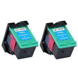 2 Pack HP75 ( HP 75 ) Remanufactured Cartridge,Works with ALL HP printers that use 75 ink cartridge (XL)