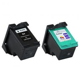 2 Pack HP94&HP95 ( HP 94/95 ) Remanufactured Cartridge,Works with ALL HP printers that use 94/95 ink cartridge