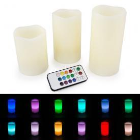 WYZworks - LED Flameless Ivory Candles Flickering - Set of 3 - 12 Color Changing w/ Remote