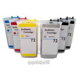 [Refillable Ink Cartridge SET] for HP 72 Designjet T610 T620 T790 T770 T1100 T1100ps T1100 T1120 T1120 SD T1120ps T1200 T1300 T2300