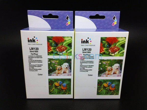 2 Pack Remanufactured Lexmark 120 Color Ink Cartridge #120 LM120 XL